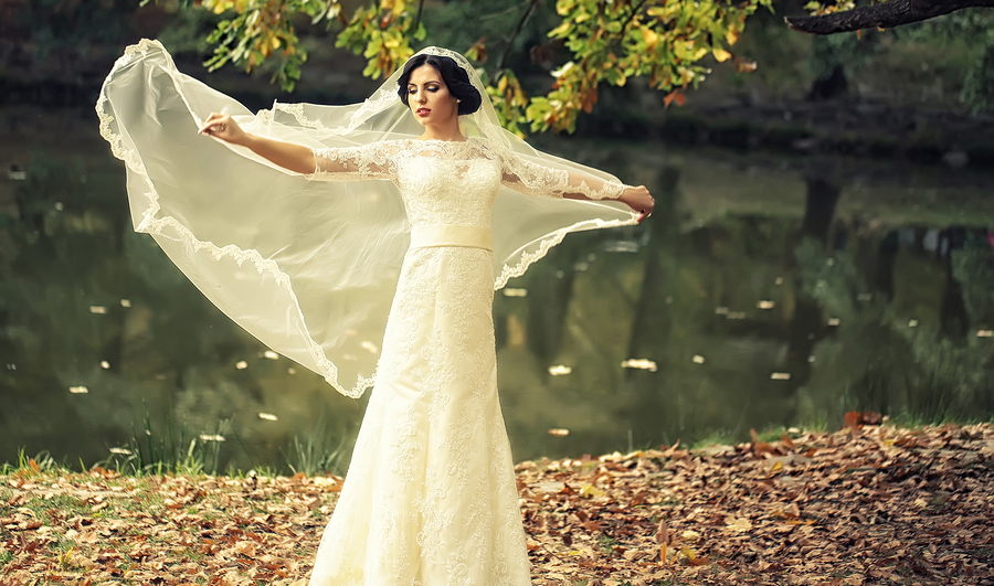 Fall Wedding Bride in a Pond